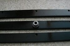 """CNC Stepper Motor  Mech Rack & Gear 72""""  Rack (3 pc) 8mm 15T Pinion Gear"""