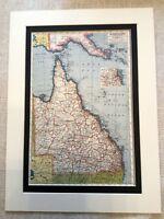 Antique Map Print Queensland Australian Australia Brisbane Vintage Art