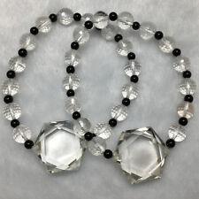 23g Natural Clear Quartz Crystal 3D Hexagon Star of David faceted beads bracelet