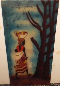 P.MURAZE AFRICAN WOMAN AND CHILD BATIK PAINTING SIGNED ON BACK