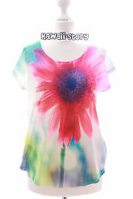 tp-26 Rojo de flores multicolor Estampado Camiseta manga corta LOLITA PASTEL