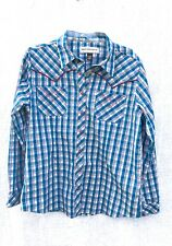 Bit & Bridle Aqua White Western Shirt Woman Large Pearl Buttons
