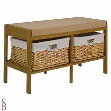 2 Basket Wooden Bench Storage Unit - Brown - BNIP
