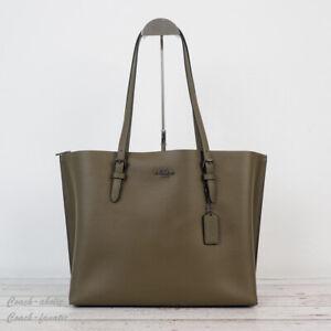 NWT Coach 1671 Leather Mollie Tote Shoulder Bag in Kelp Black