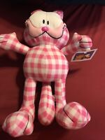 """Garfield~Odie~Pink Gingham~NWT~Plush~Stuffed~15""""~Toy Factory~Embroidered Face~"""