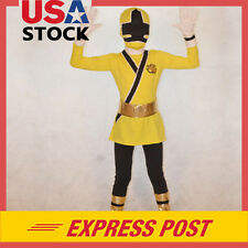 Yellow Boy Power Rangers Costume Kids Samurai Cosplay Child Bodysuit Outfit Boys