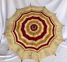 Vtg French? Umbrella Parasol Textile Fabric Stripes Wood Handle Child Size? 27�D