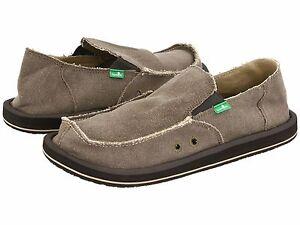 Men's Shoes Sanuk VAGABOND Slip On Canvas Sidewalk Surfers SMF1001 BROWN