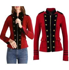 Women Red Wool Military Jacket Army Commander Officer Band Trench Steampunk