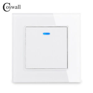 Coswall Luxury Crystal Tempered Glass 250V AC 16A Indicator LED With Wall Off /