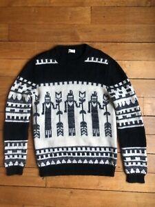 Brand new SAINT LAURENT TOTEM INTARSIA WOOL MOHAIR ALPACA KNIT Sweater Jumper L