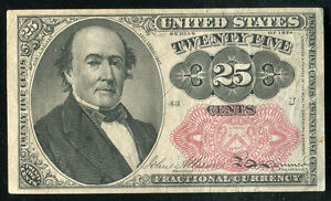 25 TWENTY FIVE CENTS FIFTH ISSUE FRACTIONAL CURRENCY NOTE ABOUT UNCIRCULATED