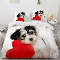 3D Cute Puppy ZHUA847 Bed Pillowcases Quilt Duvet Cover Set Queen King Zoe