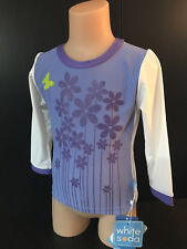 BNWT Girls Size 2 White Soda Brand Purple Flowers Long Sleeve Rash Vest UPF 50+