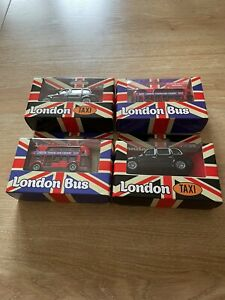 Double Decker London Transport Bus X 2  & London Taxi X 2 New In Single Boxes.