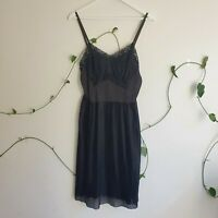 Vintage ~60s Black Plisse Lace Slip Dress M Satin A-Line Midi Part-Sheer Sexy