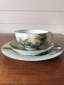 Vintage Japanese Porcelain Trio Cup Saucer And Plate Hand Painted Storks AF