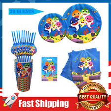 120Pcs Shark Birthday Party Supplies & Decorations for Baby Birthday,Serves 20
