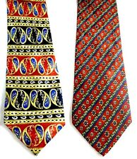 Marco Polo lot of 2 Silk Ties Both are Red w Gold Blue Black Green Color Accents