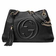 Gucci Soho Black Cellarius GG Logo Leather Chain Bag 536196