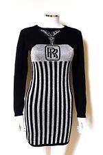 Jeremy Scott Black Silver Rolls Royce Jumper Dress M
