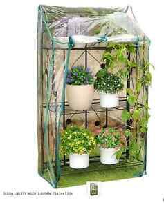 Serra portavasi Liberty piante pieghevole da balcone 3 ripiani telo richiudibile