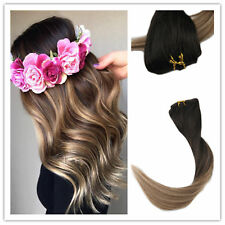 Full Shine 7pcs Brown Ombre Color Double Weft Clip in Human Hair Extensions 50g