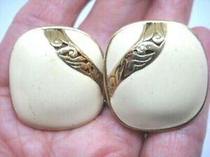 VINTAGE SIGNED EDGAR BEREBI GOLD TONE IVORY ENAMEL  CLIP EARRINGS