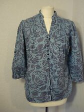 M&S two tone blue floral linen blouse/top 12