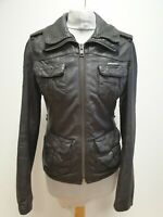 R928 WOMENS SUPERDRY BROWN LEATHER ZIPPED JACKET UK XS 6 EU 34