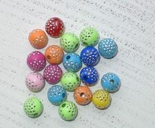 50 bunte Acryl Perlen 10 mm strasseffekt silberne Punkte A1023