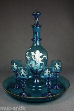 Likör Glas Flasche Gläser Set Schneemalerei Engel um 1900  liqueur glass angel