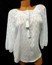 Allison daley white women's plus see through diamonds tie up textured top 14P