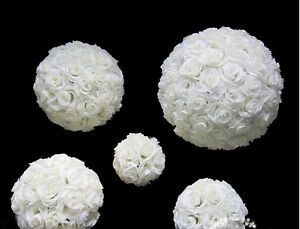 9-10 Inches White Rose Flower Ball Wedding decoratin Ball Kissing Ball USA