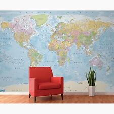 WORLD MAP WALL MURAL COLOURED 3.15M X 2.32M (10FT X 7FT)