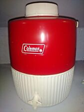 Coleman Red Metal White Plastic 2 Gallon Water Jug Cooler  Vintage