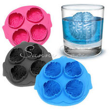 Hot Selling Scary 3D Silicone Ice Cube Maker Jelly Mold Brain Shape Drinking