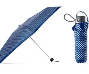 "Totes NeverWet Technology Navy Polka Dot Umbrella No Dripping Mess 38"" Coverage"