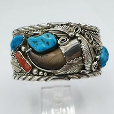 Navajo Sterling Silver Bangle Bear Claw signed: M. Thomas H  / Silber Indianer