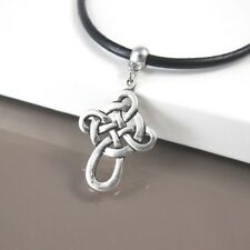 Silver Alloy Celtic Cross Pendant Womens Mens 3mm Black Leather Tribal Necklace