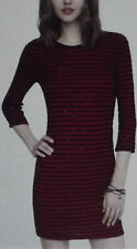 EXPRESS XS RED BLACK STRIPED SEQUINED SWEATER DRESS shift SEQUINS scoop back