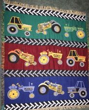 Tractor Tapestry Throw Blanket Woven Child Nursery Boy Blue Green Red Tires