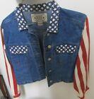 USA Flag Patriotic Girls flag sleeves stylish short waisted Jeans Jacket