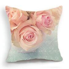 Retro Design 18'' Cushion Cover Pillow Case Pink Blue Rose Flower Home Decor