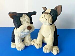 Plush Dog Boston Terrier Brothers Stuffed Animal Toy Black & White Set of Two