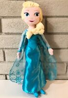 "Disney Store Frozen ELSA 20"" Plush Soft Doll Sparkle Blue Snowflake Dress CLEAN"