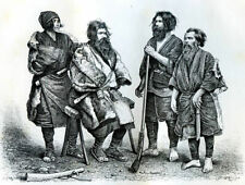Ainu, indigenous people of Japan and Russia.......Antique  Engraving  1892