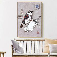 Art Silk Canvas Ukiyoe Tattoo Cat Japan Paint Poster Asian Decor Unframed S666