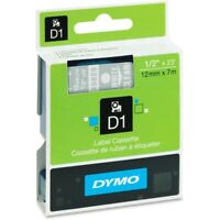 """5PK White on Clear Label Tape 1//2/"""" Generic For DYMO D1 45020 LabelManager 23ft"""