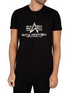 Alpha Industries Men's Basic Foil Print T-Shirt, Black